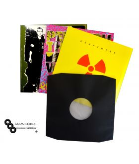 "Pack of 200 12"" Inch HDPE Black Paper Poly Lined Inner LP Sleeves 80gr Bev"